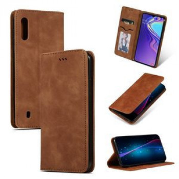 Чехол Retro Skin Feel Business Magnetic  Case на Samsung Galaxy A10- коричневый