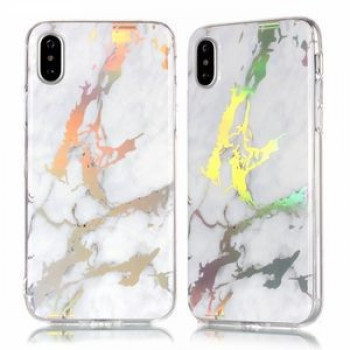 Чехол Color Plated Marble на iPhone XR-белый