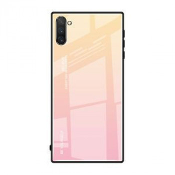 Стеклянный чехол Gradient Color Glass Case на Samsung Galaxy Note10+Plus- желтый