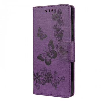 Чехол-книжка Butterflies Embossing на Xiaomi Mi 10T Lite - фиолетовый