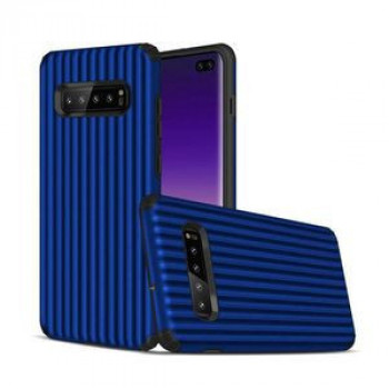 Противоударный чехол Suitcase Shaped UV Varnish Process на Samsung Galaxy S10+ / S10 Plus- синий