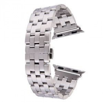 Металлический браслет Butterfly Buckle 5 Beads Stainless Steel Silver для Apple Watch 42mm