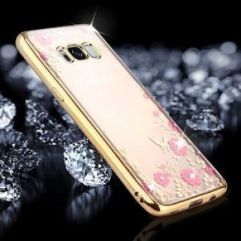 Силиконовый чехол-накладка Flowers Pattern Diamond Encrusted Electroplating на Samsung Galaxy S8/G950-золотой