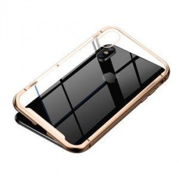Магнитный чехол Baseus Metallic Frame + Temperped Glass Rear Cover Magnetic Care на iPhone XS Max-золотой