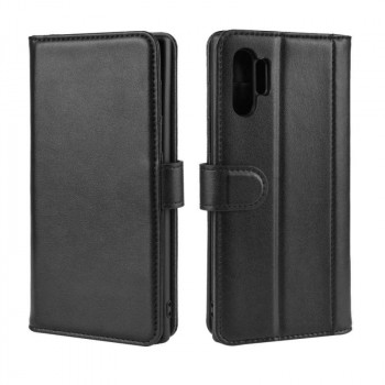 Кожаный чехол-книжка Magnetic Buckle Wallet Style Genuine Leather на Samsung Galaxy Note10-черный
