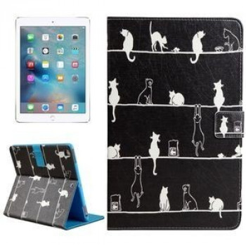 Чехол Flip Card Slots Wallet Cats черный для iPad Pro 9.7