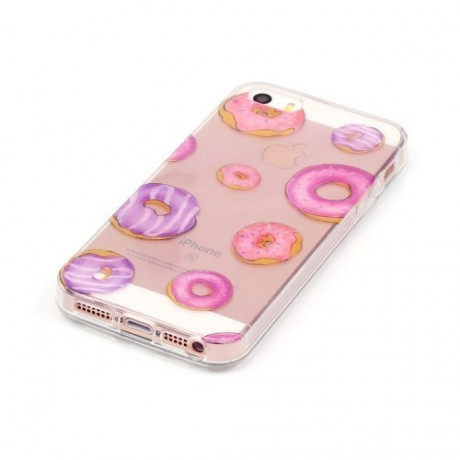 Прозрачный TPU Чехол IMD Workmanship Novel Cute Doughnut для iPhone 5/ 5S/ SE