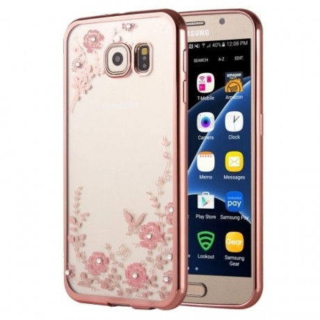 TPU Чехол Flowers Patterns Electroplating для Samsung Galaxy S7 / G930
