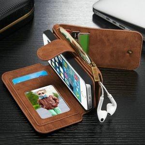 коричневый кожаный чехол кошелек на айфон 5с кейс ми