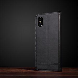 Кожаный черный чехол книжка на айфон 10