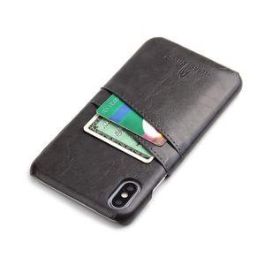 Кожаный чехол Fierre Shann Retro Oil Wax Texture на айфон Х макс черный