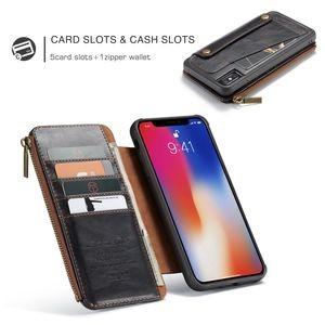 Кожаный чехол- кошелек CaseMe Detachable Multifunctional на iPhone XS Max черный