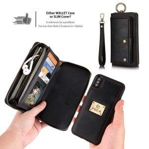 Кожаный чехол- клатч Pola на iPhone X/Xs - черный