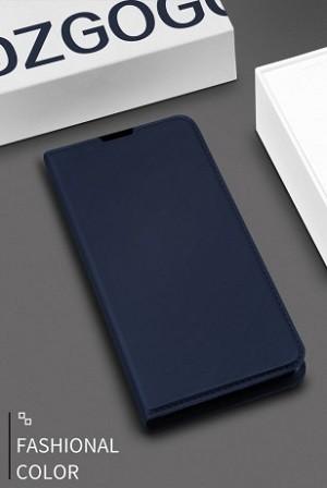 Чехол-книжка DZGOGO ISKIN Series Slight Frosted на Samsung Galaxy S10/G973-темно-синий