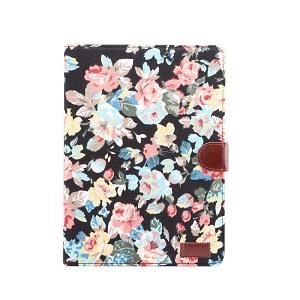 Чехол-книжка Dibase Denim Leather Case на iPad 10.2 - черный, цветочный рисунок