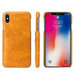 Кожаный чехол  на iPhone XS Max- желтый
