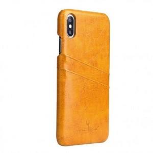 Кожаный чехол  на айфон XS Max- желтый