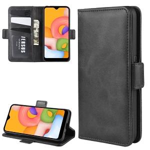 Чехол-книжка Dual-side Magnetic Buckle для  Samsung Galaxy A01 - черный