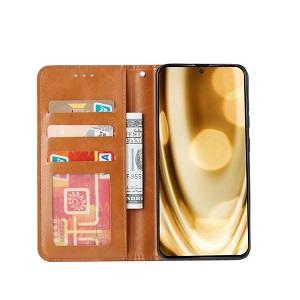 Чехол-книжка Knead Skin Texture на Samsung Galaxy A71 - коричневый