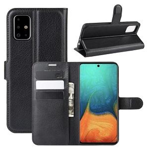 Чехол-книжка Litchi Texture на Samsung Galaxy A71 - черный