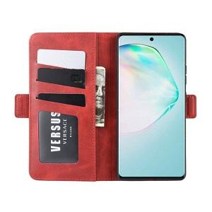 Чехол-книжка Double Buckle Crazy  на Samsung Galaxy S10 Lite- красный