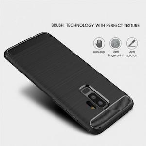 Противоударный чехол для Samsung Galaxy S9plus Brushed Carbon Fiber-темно-синий