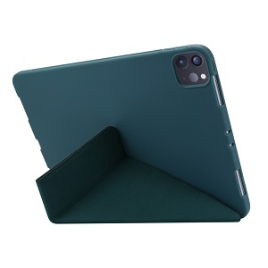 Чехол- книжка Solid Color Trid-fold Deformation Stand на Айпад Про 11 (2020) - зеленый