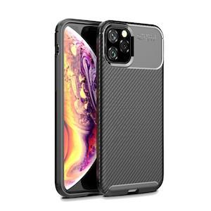 Карбоновый чехол для Айфон 11 про макс - черный