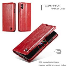 Красный кожаный чехол-книжка CaseMe 003 для iPhone Xs Max