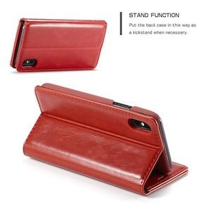 Красный кожаный чехол-книжка для Айфон Xs Max CaseMe 003