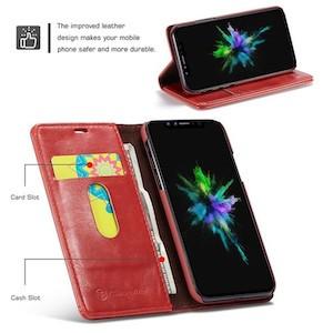 Кожаный чехол книжка красный CaseMe 003 Series на iPhone Xs Max