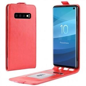 Кожаный флип-чехол Business Style на Samsung Galaxy S10/G973- красный