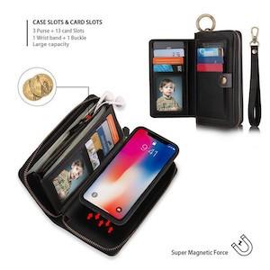 Кожаный черный чехол клатч Pola на iPhone Xs Max