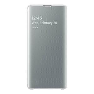 Оригинальный чехол-книжка Samsung Clear View Cover на Самсунг Гелекси S10 white (EF-ZG975CWEGRU)